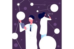 Researching scientist. Man in white lab coat checking neural Product Image 1