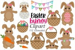 Easter Bunny Clipart, Easter Eggs & Basket Illustrations Product Image 1