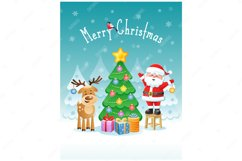 Merry Christmas. Greeting card with funny Santa Claus. Product Image 1