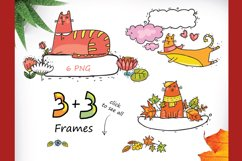 Autumn Cats - clip-art collection, patterns, frames Product Image 4
