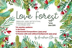 Love forest watercolor set with patterns, cards, wreaths Product Image 1