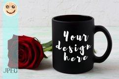 Black coffee mug mockup with red rose Product Image 1