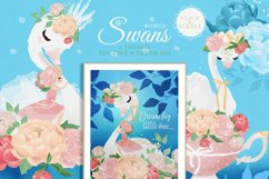 Peony Poem - Tea Time with swans & flowers Product Image 3