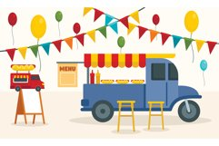 Street food truck concept background, flat style Product Image 1