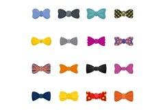 Bowtie ribbon man tuxedo icons set, flat style Product Image 1