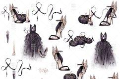 Halloween Fashion Black Dress Gold Jewelry Clip Art Product Image 6