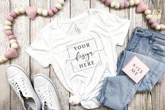 4 Image Valentines Day White T-Shirt Mockup Farmhouse Bundle Product Image 3