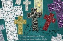 32 Diamond Pearl Rhinestone Christian cross religious Easter Product Image 1
