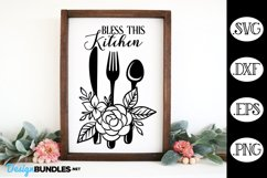 Bless This Kitchen SVG, Floral Kitchen Sign SVG Product Image 1