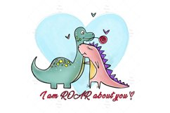 Cute Dinosaur Couple PNG, Valentine Bundle Product Image 2
