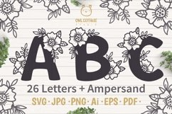 Floral alphabet svg, Floral Monogram letters Bundle, Wedding Product Image 1