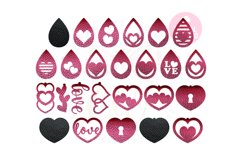 Valentine Love Earring Template |50 Templates Earring svg Product Image 1