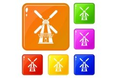 Windmill icons set vector color Product Image 1