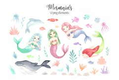 Watercolor Mermaids. Kids Cliparts and Pattern Product Image 5