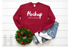 Gildan 18000 Mockup Christmas Cardinal Red Sweatshirt Winter Product Image 1