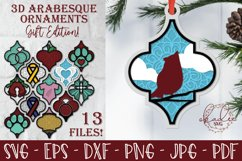 3D Arabesque Ornament Gift Edition, Christmas Gift Tag, SVG Product Image 1