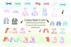 Cumbria Rabbit Family, Mum, Dad, Sisters, Watercolor Illustration  Product Image 3