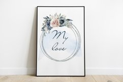 Watercolor Clipart Wedding Geometric frames Heart flowers Product Image 3