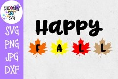 Happy Fall with Leaves SVG - Autumn SVG - Fall SVG Product Image 1
