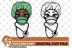 2x Black Woman Bundle svg, Nurse svg, Stethoscope svg, Hero Product Image 1