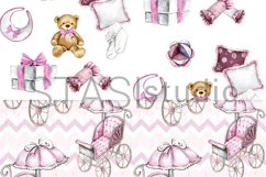 Baby Girl Paper Pack, New Baby Watercolor Seamless pattern Product Image 5
