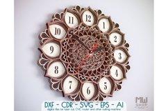 C06 - Mandala Flower Clock, Layered Clock DXF, Clock SVG Product Image 1