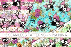 Cute Halloween Seamless Patterns, Bats Digital Papers Pack Product Image 3