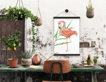 Tropical set of watercolor elements with flamingo Product Image 6