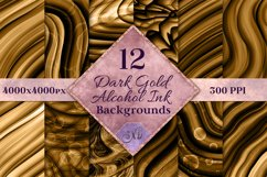 Dark Gold Alcohol Ink Backgrounds - 12 Image Set Product Image 1