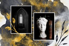 Black and Gold Watercolor Flower Illustrations and Textures Product Image 5