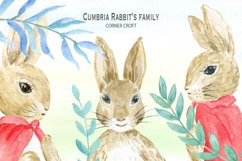 Cumbria Rabbit Family, Mum, Dad, Sisters, Watercolor Illustration  Product Image 4