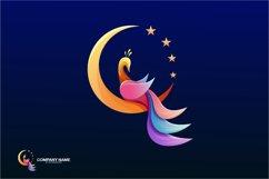 peacock moon logo company vector Product Image 1
