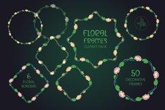 Pack of 100 Floral Frames, vector clipart bundle Product Image 5