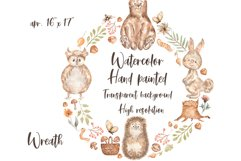 Watercolor Woodland Animals Wreath Product Image 2