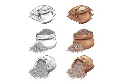 Hand drawn rice sacks vector set. Sketch rice isolated on wh Product Image 1