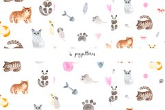 Watercolor Cute Cats. Patterns and Cliparts Product Image 3