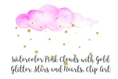 Watercolor Pink Clouds with Gold Stars and Hearts Clip Art Product Image 4