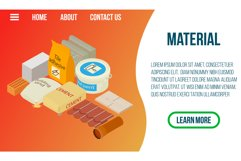 Material concept banner, isometric style Product Image 1