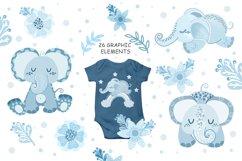 Sleeping blue elephant clipart, nursery print for boys Product Image 2