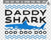 Retro Daddy Shark Print / Fathers Day T-Shirt, Family SVG Product Image 4