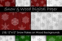Red & Green Christmas Snowflake Digital Paper Pack Product Image 1