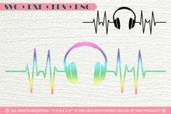 Earphones | Music| Hearbeat | SVG DXF PNG EPS Cutting File Product Image 1