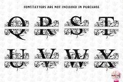 Floral Split Monogram - Alphabets A to Z - EPS SVG DXF JPG Product Image 4