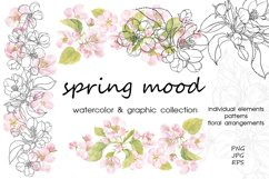 Spring mood. Watercolor & graphic. Product Image 1