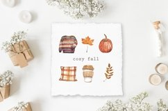 Fall Clipart Watercolor Autumn Cozy Painting Clip art Product Image 3