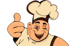 Clipart/Character with a fat chef with thumbs up Product Image 6