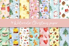 Watercolor Christmas digital paper, seamless pattern Product Image 1