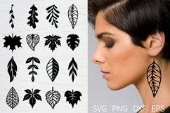 Leaf earrings, earrings svg bundle, earring template leather Product Image 1