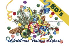 Christmas clipart 80's Watercolor individual elements PNG Product Image 1