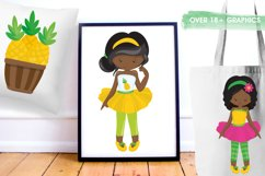 African American girls pineapple party graphics - vectors Product Image 2